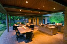 Having an outdoor kitchen is a lot of fun. The hard part is coming up with unique outdoor kitchen ideas! Check out these 37 outdoor kitchen designs that will blow your mind. Outdoor Living Areas, Outdoor Rooms, Outdoor Dining, Outdoor Decor, Outdoor Furniture, Outdoor Fire, Dining Area, Dining Rooms, Modern Outdoor Kitchen