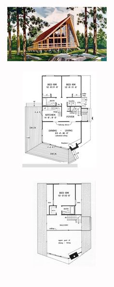 House Plan 90603 - A-Frame, Cabin, Contemporary Style House Plan with 1416 Sq Ft, 3 Bed, 2 Bath A Frame House Plans, Cabin Floor Plans, Best House Plans, Small House Plans, A Frame Floor Plans, Stone House Plans, Cabin Homes, Log Homes, Tyni House