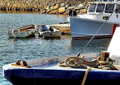 Boats in the harbor of Plymouth, MA.
