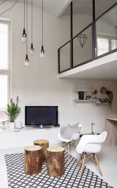 Loft. Bright living room #mezzanine