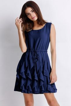 Ruffled Sleeveless Chiffon Dress - OASAP.com