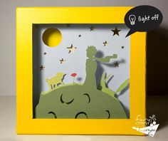 The little prince night light Nursery decor unique by FairyCherry Shadow Light Box, Shadow Box Art, Little Prince Party, The Little Prince, Kirigami, 3d Drawing Techniques, Paper Art, Paper Crafts, 3d Drawings