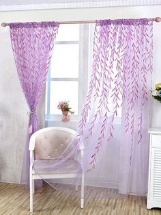 Shop for Willow Floral Sheer Curtains Panel Voile Tulle Window Curtain. Get free delivery On EVERYTHING* Overstock - Your Online Home Decor Outlet Store! Get in rewards with Club O! Turquoise Curtains, Purple Curtains, Purple Walls, Sheer Curtain Panels, Sheer Curtains, Window Curtains, Bedroom Wall Colors, Bedroom Themes, Bedroom Decor