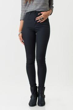 High Waist Denim Skinnies, Black
