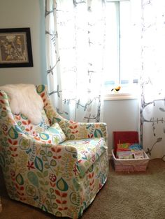Baby-proofed my West Elm Graham Glider with a handmade slipcover - for the nursery - Crafters In Disguise: Slipcovered Glider Chair Forest Nursery, Glider Chair, Slipcovers For Chairs, Nursery Furniture, Girl Nursery, Nursery Ideas, Gliders, West Elm, Baby Love