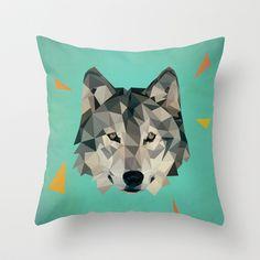 green wolf pillow