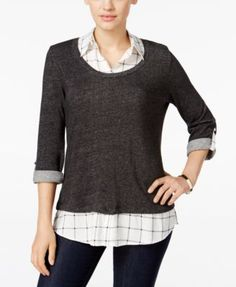 Style & Co. Plaid Layered-Look Sweater, Only at Macy's