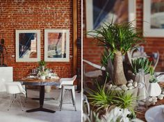 Modern Green Wedding Inspiration--love the eiffel based chairs with industrial stools <3