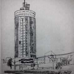 Edifício Offcenter  #Architecture #arquitetura #croqui #posmodernismo #drawing #desenho #belohorizonte #Minas #MinasGerais