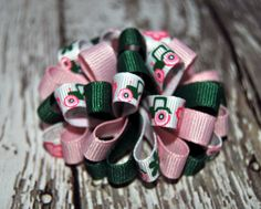 Green & Pink Girl John Deere Ribbon Puff Loopy Hair Bow. $6.00, via Etsy.