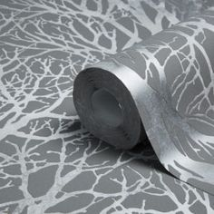 Creation Life Grey & Silver Tree Print Metallic Wallpaper - B&Q for all your home and garden supplies and advice on all the latest DIY trends Tree Wallpaper Decor, Silver Tree Wallpaper, Dark Grey Wallpaper, Diy Wallpaper, Print Wallpaper, Textured Wallpaper, Hallway Wallpaper, Bathroom Wallpaper, Wallpaper Pictures