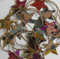 Recycled Star Garland Tim Holtz inspired Christmas Decor or Cowgirl Shabby Chic on Etsy, $15.00