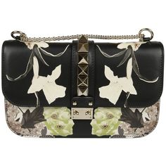 Valentino Glam Lock Shoulder Bag (125,175 INR) ❤ liked on Polyvore featuring bags, handbags, shoulder bags, nero, floral shoulder bag, flower print handbags, shoulder bag handbag, chain strap purse and valentino handbags