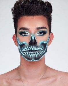 Резултат с изображение за james charles # halloween makeup You'll Drop Your Pink Drink on the Floor When You See James Charles's Neon Skeleton Look Makeup Clown, Costume Makeup, Makeup Art, Movie Makeup, Makeup Ideas, Fairy Makeup, Mermaid Makeup, Skull Face Makeup, Sfx Makeup