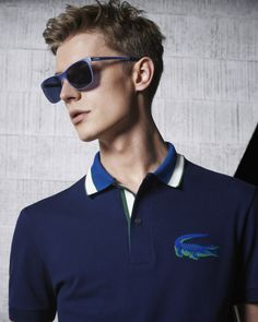 lacoste Polo: An Innovative polo, set off with an eye-catching color block. Lacoste Polo, Men's Polo, Smart Men, Camisa Polo, White Off Shoulder, Polo Shirts, Tennis Players, Blazer Jacket, Neck Lines