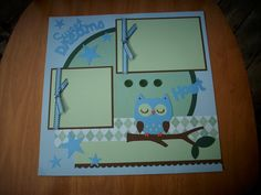 Items similar to Blue/Green Owl Sweet Dreams Premade Scrapbook Page on Etsy Baby Scrapbook Pages, Baby Boy Scrapbook, Scrapbook Sketches, Scrapbook Page Layouts, Scrapbook Paper Crafts, Scrapbook Cards, Yearbook Layouts, Create A Critter, Shower Bebe