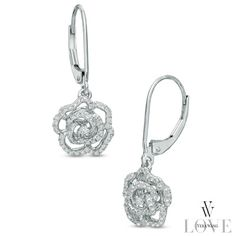 Vera Wang LOVE Collection 0.29 CT. T.W. Diamond Rose Drop Earrings in 14K White Gold - Peoples Jewellers Vera Wang LOVE Collection 0.29 CT. T.W. Diamond Rose Drop Earrings in 14K White Gold - - View All Jewellery - Peoples Jewellers