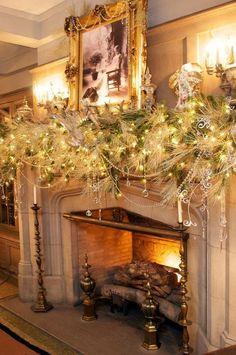 Fireplace and Christmas decor.