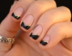 "Angled OPI ""Black Onyx"" french tip manicure with gold striping tape and OPI ""You Callin' me a Lyre?"" as a base. Try out this classy and sophisticated nail art design for your spring 2014 evenings. - Nailed It 