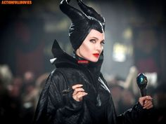 Who's starring: Angelina Jolie is starring as the titular villain, horns and all. Elle Fanning plays Princess Aurora (with Vivienne Jolie-Pitt making her Maleficent Makeup, Maleficent 2014, Maleficent Movie, Maleficent Costume, Malificent, Maleficent Horns, Maleficent Quotes, Maleficent Halloween, Film Music Books