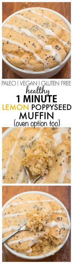 Healthy 1 minute Lemon Poppyseed Muffin- Moist and fluffy on the inside and tender on the outside, these have NO butter, oil or sugar in them but you'd never tell- Oven option too! Mug Recipes, Sugar Free Recipes, Paleo Recipes, Low Carb Recipes, Cooking Recipes, Recipies, Muffin Recipes, Gluten Free Baking, Gluten Free Desserts