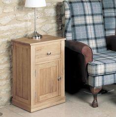 Mobel Oak One Door one Drawer Lamp Table - COR10C