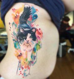 Watercolor cute cat side tattoo - 100+ Examples of Cute Cat Tattoo