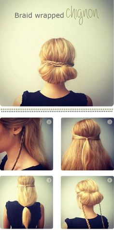 Braid wrapped chignon  A SUPER easy up-do for work or date night