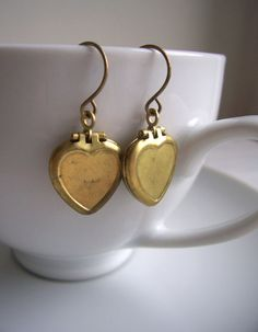 Little Heart Locket earrings  vintage brass by themagpiesdaughter, $18.00