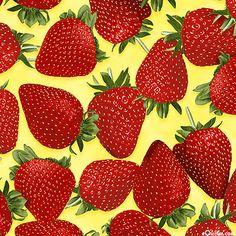 Fresh Picked - Plump Strawberries - Lemon Yellow