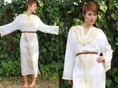 ViNtAgE 70's Grecian MAXI DRESS White Cotton Summer Caftan / $72.00