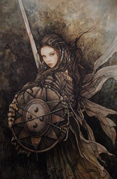 Absolutely stunning female warrior, shield and sword. Arantza Sestayo