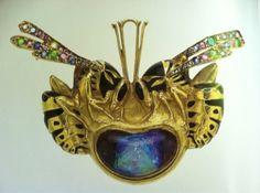 Lalique 1900 Pendent-brooch w/wasps: gold/ enamel/ diamond/ emerald/ ruby/ sapphire/ opal