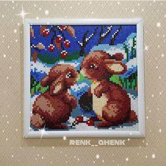 Winter scene with bunnies