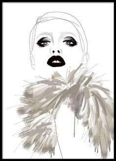 Lovely poster with fashion illustration of a woman with a fur in beige. Very trendy and looks smashing in a black frame. Goes well with our other posters with fashion illustrations. www.desenio.co.uk