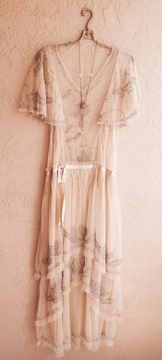Sheer cape sleeve Romantic Lace Bohemian Dress