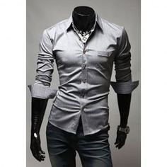 Wholesale Fashionable Style Shirt Collar PU Leather Splicing Long Sleeves Cotton Polo Shirt For Men (DEEP GRAY,L), Shirts - Rosewholesale.com