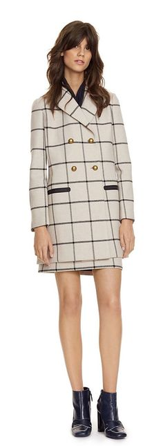Tory Burch Plaid Short Coat