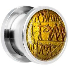 0 Gauge Steel Egyptian Hieroglyphics Wall Carving Screw Fit Plug Body Candy. $9.99. Purchase 2 for a Pair. Sold Individually