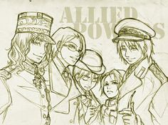 Allies in their various bosses' outfits/uniforms.