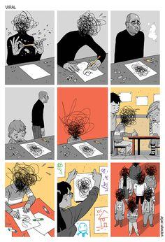 Esta viñeta del ilustrador Asaf Hanuka nos muestra por qué debemos hacer caso a los conflictos de nuestra mente