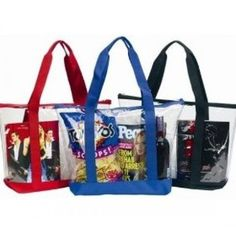 Large Clear Tote Bag with Zipper Closure (Red). Large Clear Tote Bag: Dimensions x x Zippered top closure, clear interior pocket. Clear vinyl body with sturdy colored bottom and handles. Clear Stadium Bag, Clear Handbags, Clear Tote Bags, Ritter Sport, Work Tote, Zipper Bags, Zipper Pouch, Cosmetic Bag, Purses And Bags