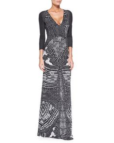 V-Neck Armadillo-Print Gown, Black/White by Roberto Cavalli at Neiman Marcus.