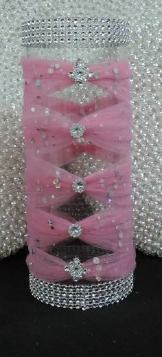 Pink Tulle Corset Cylinder Vase Wedding By Luxxcouture On Etsy Centerpieces Candles