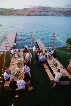 Reclaimed wood tables for backyard wedding reception on Lake Chelan by Ryan Flynn Photography. Perfect Wedding, Dream Wedding, Luxury Wedding, Dock Wedding, Yacht Wedding, Lakeside Wedding, Wedding Backyard, Lake Wedding Ideas, Lake Wedding Decorations