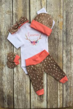 Girls Fawn Deer Coming Home Outfit, Personalized Deer Girls Baby Set, Custom Newborn Hospital, Baby Shower Gift, Floral Antlers Layette by DarlinDivasandDudes on Etsy Take Home Outfit, Coming Home Outfit, Baby Girl Names, Baby Girl Gifts, Deer Girl, For Elise, Baby Girl Newborn, Newborn Photos, Future Baby