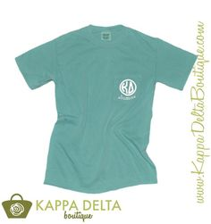 A Favorite Alum Style! KD Boutique Seafoam Alumna Monogram Pocket T-Shirt