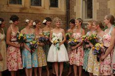 pinning because crazy.     Mismatched Bridesmaid Dresses and floral Bridesmaid Dresses 560x373 Mismatched Bridesmaid Dresses {Fun & Fabulous Wedding Trends}