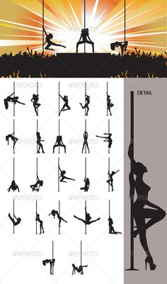 Pole Dancer Silhouette — Vector EPS #hair #dance • Available here → https://graphicriver.net/item/pole-dancer-silhouette/3327435?ref=pxcr