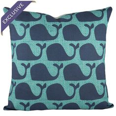 Cotton and linen-blend pillow with a whale motif.  Product: PillowConstruction Material: Cotton and linen blend